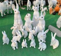 玻璃钢仿真动物雕塑 玻璃钢仿真兔子 幼儿园仿真兔子工艺品摆件