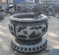石雕青石鱼缸 仿古做旧圆缸流水摆件 园林庭院装饰摆件