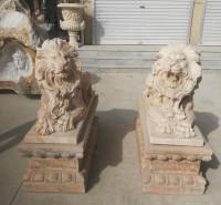 石雕动物 石雕现代狮子 现代狮子雕塑 镇宅招财看门护院落地摆件